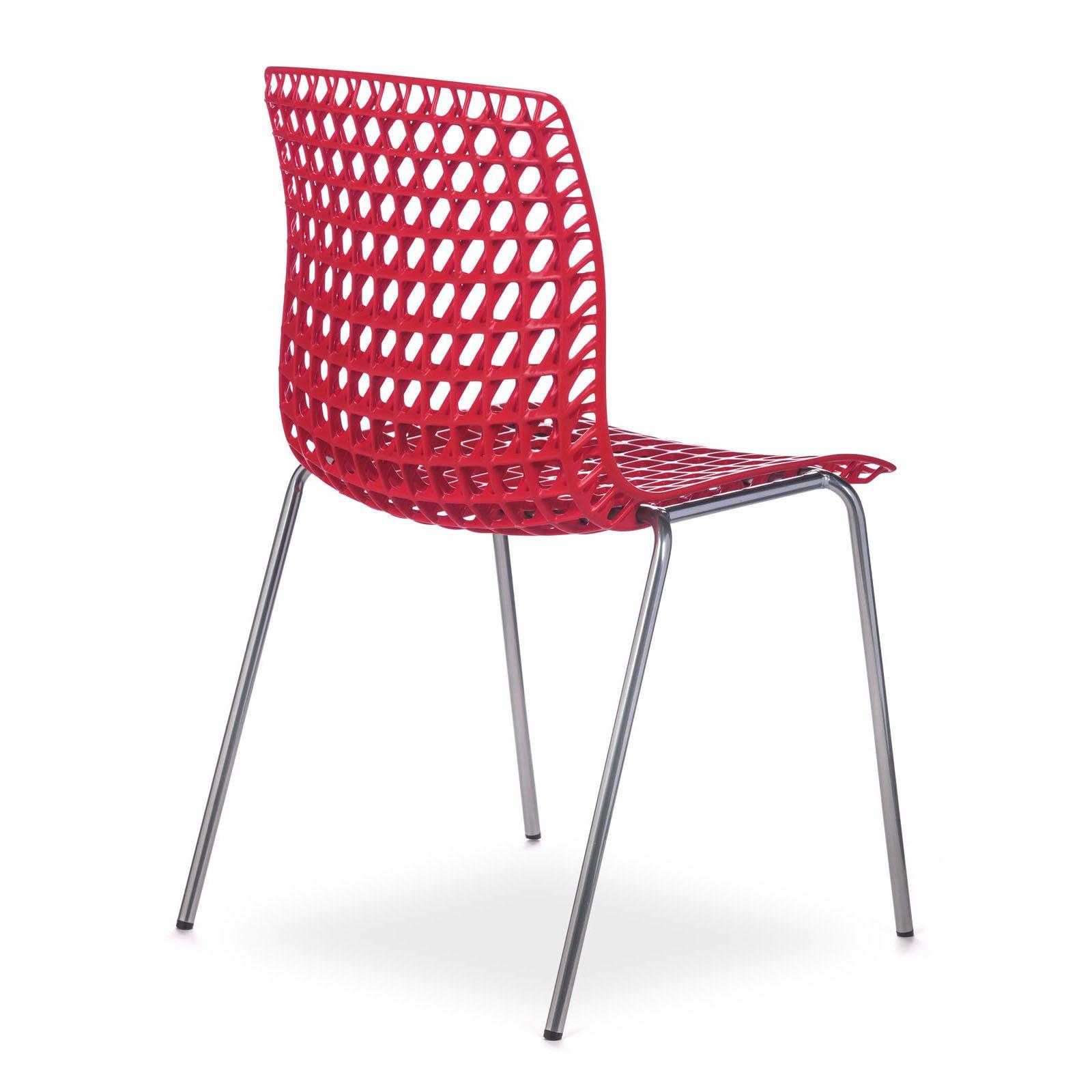 Cadeira Moiré Chrome Red