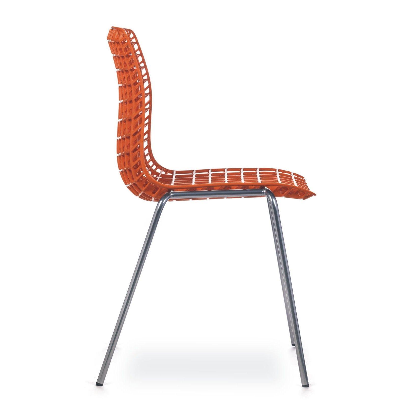 cadeira moiré chrome orange