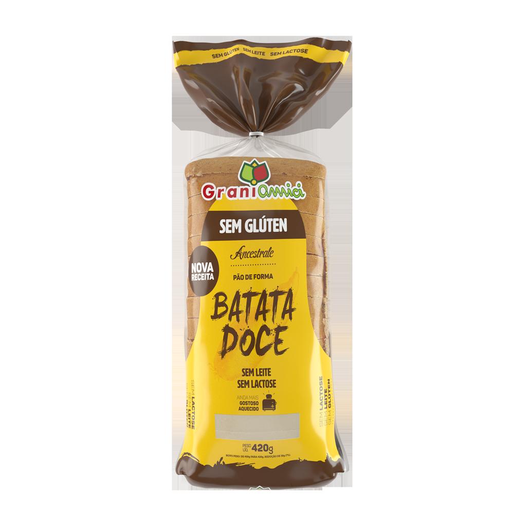 Pão de Forma Batata Doce Sem Glúten, Sem Lactose, Sem Leite, NOVA RECEITA - Grani Amici 420g