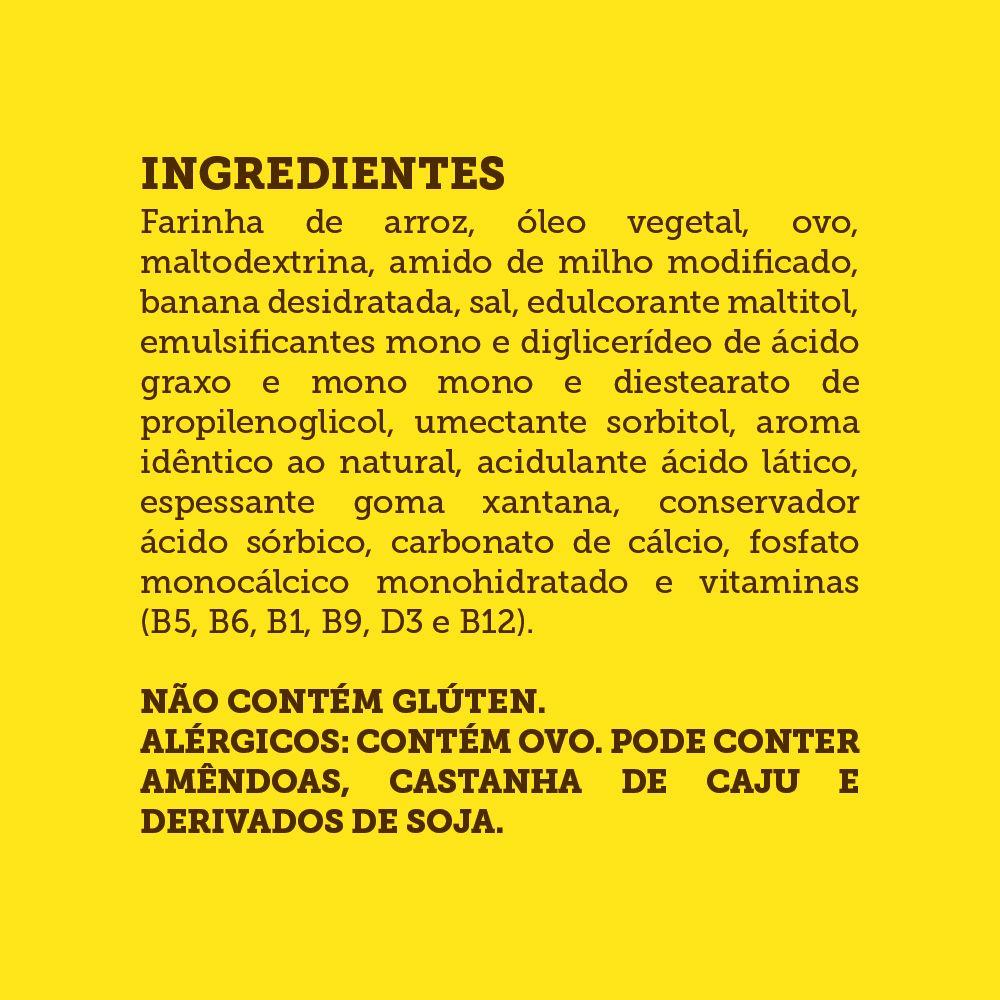 Minibolo de Banana Sem Glúten, Sem Açúcar, Sem Lactose, Sem Leite - Grani Amici 3 un. 120g