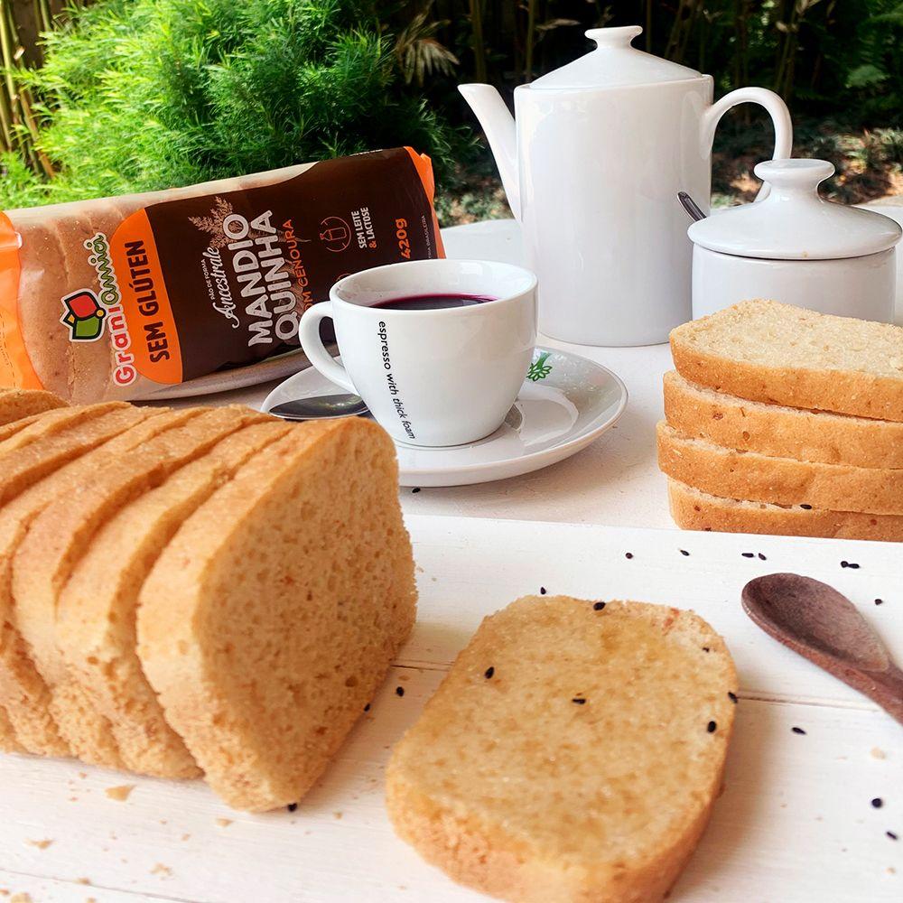 NOVIDADE Pão de Forma Mandioquinha com Cenoura Sem Glúten, Sem Lactose, Sem Leite - Grani Amici 420g