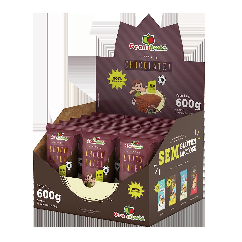 Minibolo de Chocolate Sem Glúten, Sem Lactose, Sem Leite - Grani Amici Display 15 un. 600g