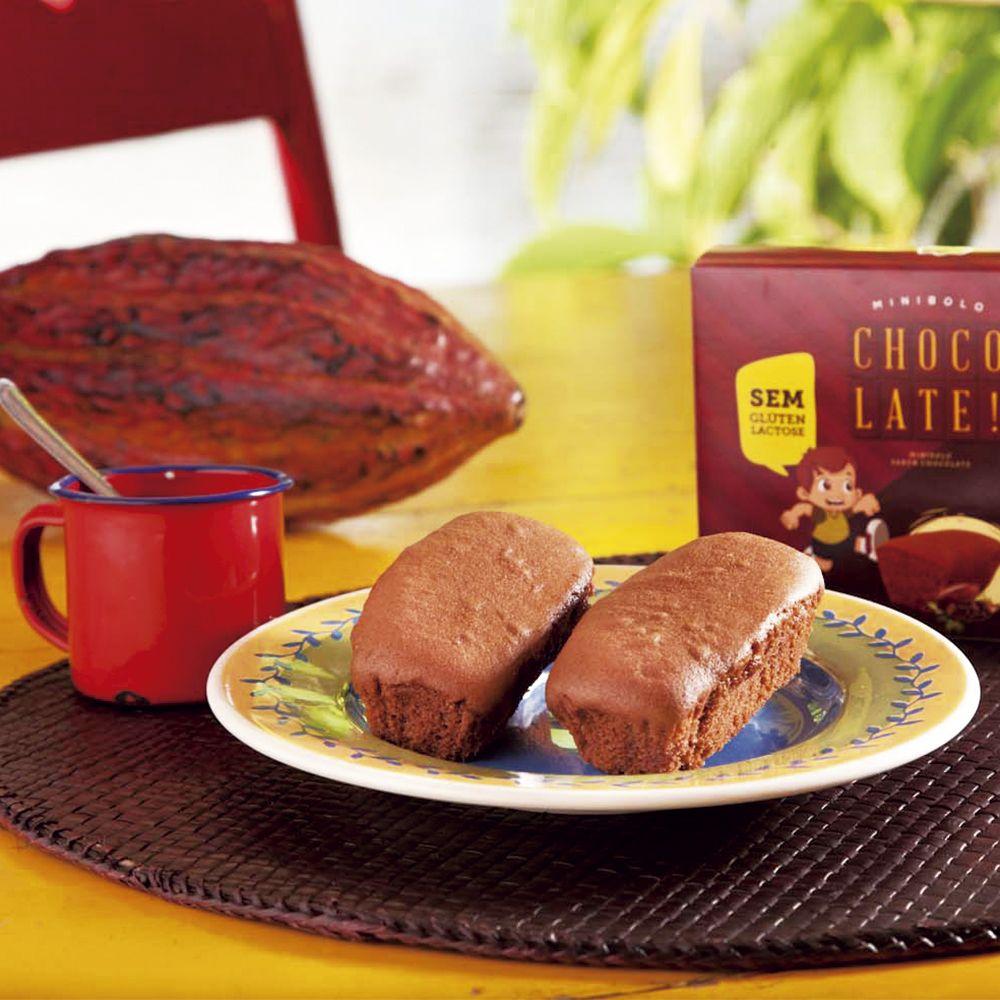 Minibolo de Chocolate Sem Glúten, Sem Lactose, Sem Leite - Grani Amici 3 un. 120g