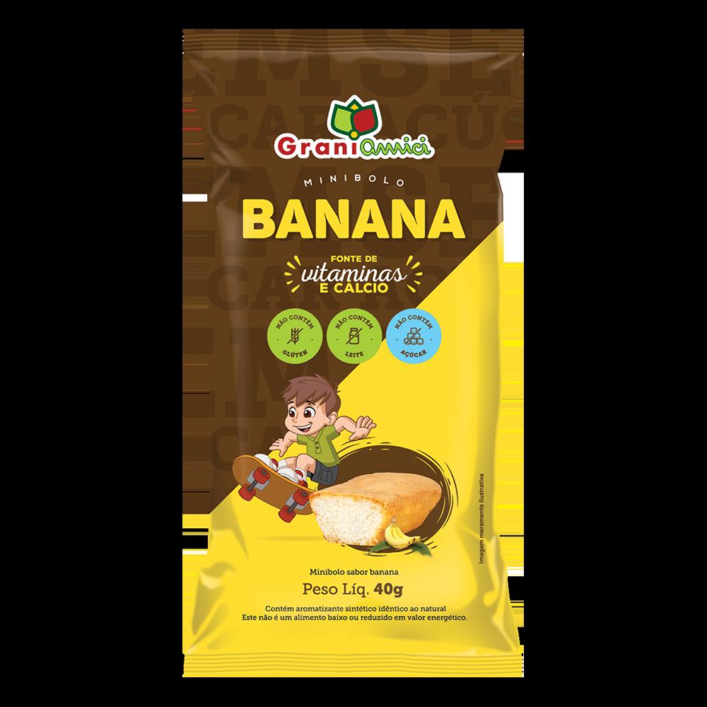 Minibolo de Banana Sem Glúten, Sem Açúcar, Sem Lactose, Sem Leite - Grani Amici Display 15 un. 600g