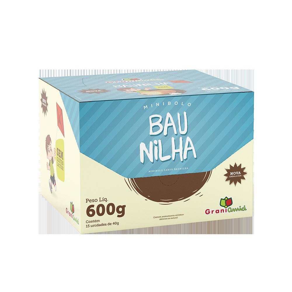Minibolo de Baunilha Sem Glúten, Sem Lactose, Sem Leite - Grani Amici Display 15 un. 600g