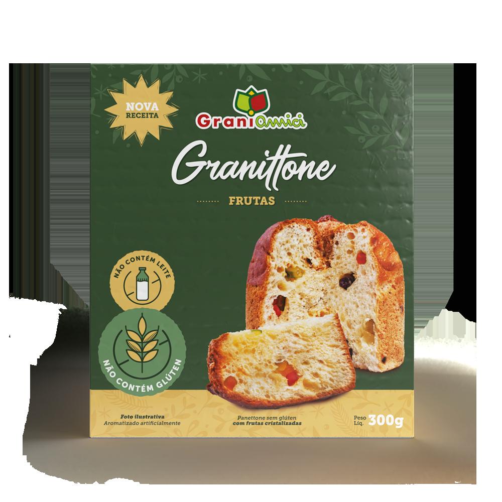 Granittone / Panettone com Frutas Sem Glúten, Sem Lactose, Sem Leite - Grani Amici 300g
