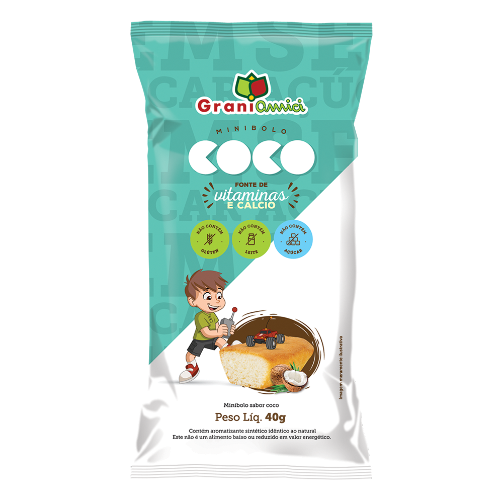 Minibolo de Coco Sem Glúten, Sem Açúcar, Sem Lactose, Sem Leite - Grani Amici 3 un. 120g