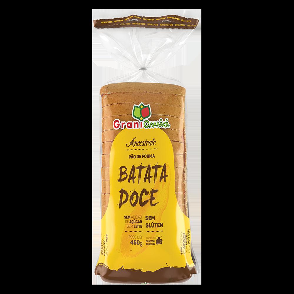 Pão de Forma Batata Doce Sem Glúten, Sem Açúcar, Sem Lactose, Sem Leite - Grani Amici 450g