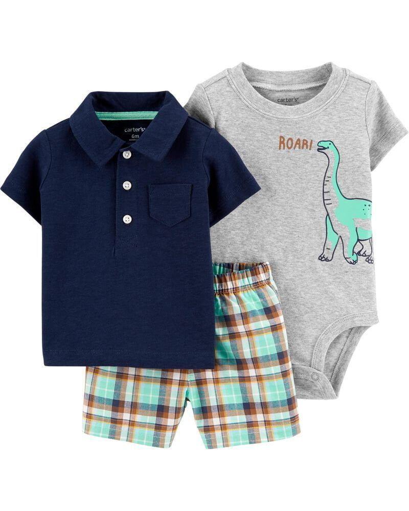 Conjunto 3 Peças De Algodão Body Dinossauro E Blusa Polo Azul Marinho Carter's