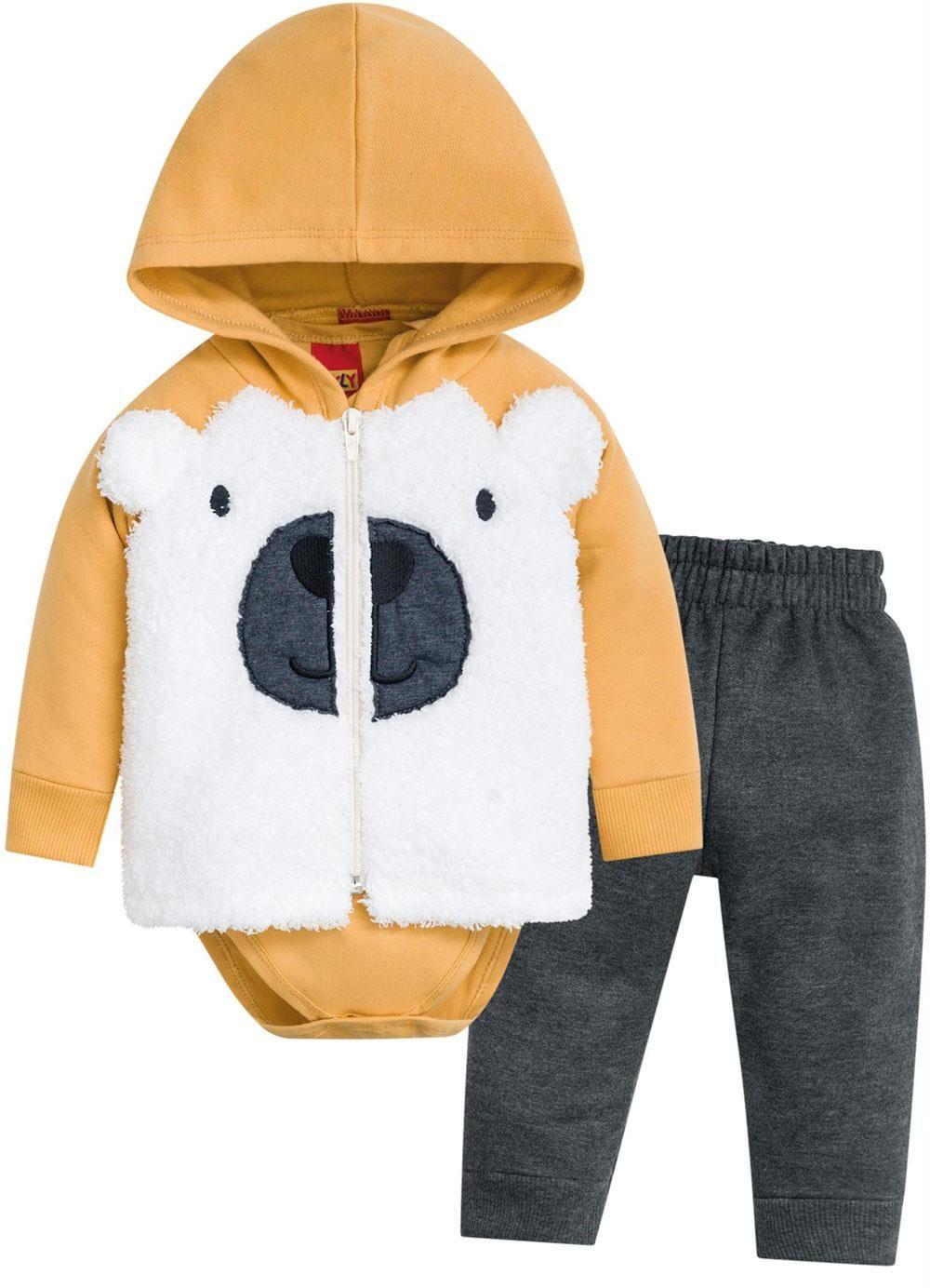 Conjunto 3 Peças De Moletom Urso Amarelo Kyly