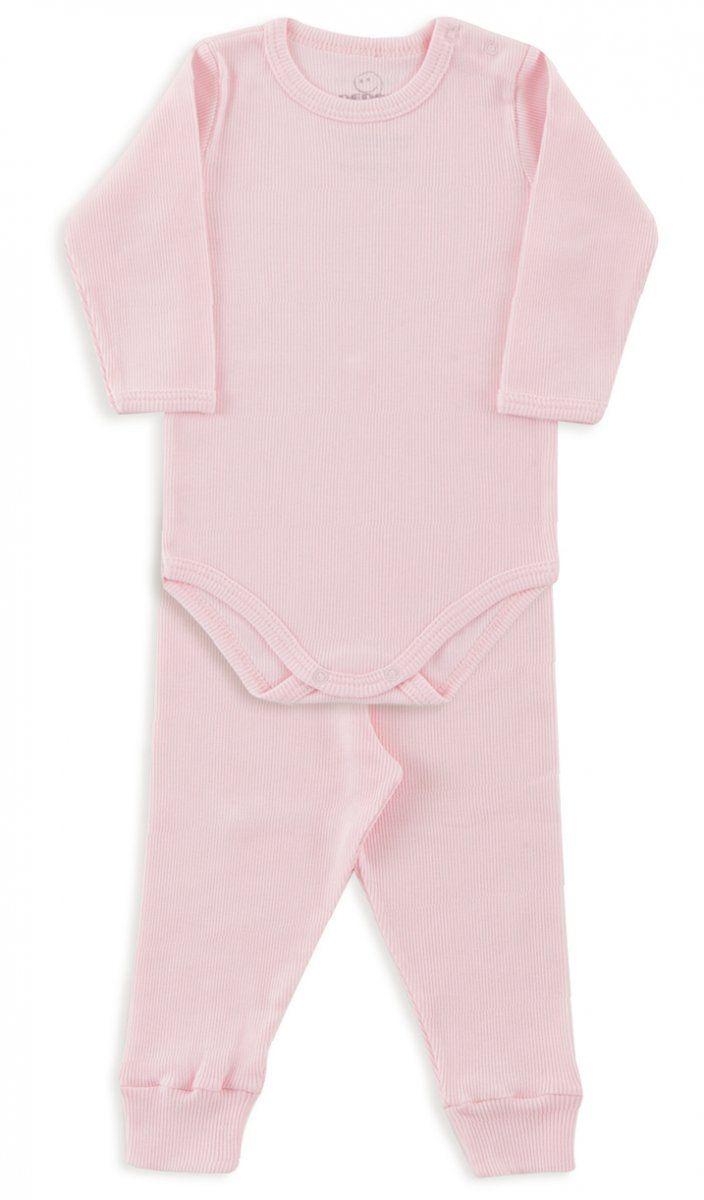 Conjunto De Body Infantil Canelado Rosa Bebê Dedeka