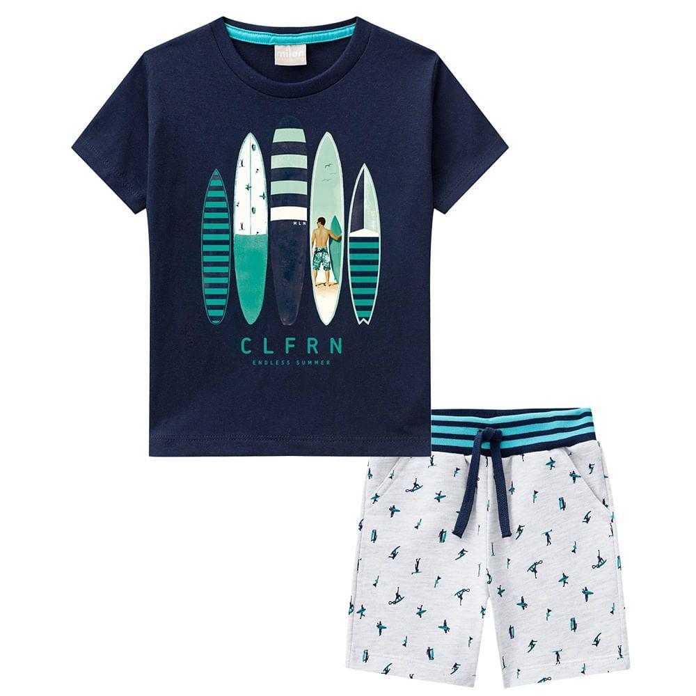 Conjunto 2 Peças De Algodão CLFRN Endless Summer Pranchas De Surf Azul Marinho E Cinza Milon