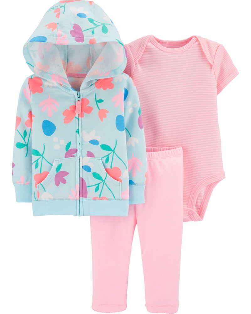 Conjunto 3 Peças De Algodão Com Casaco Florido Azul Bebê Carter's
