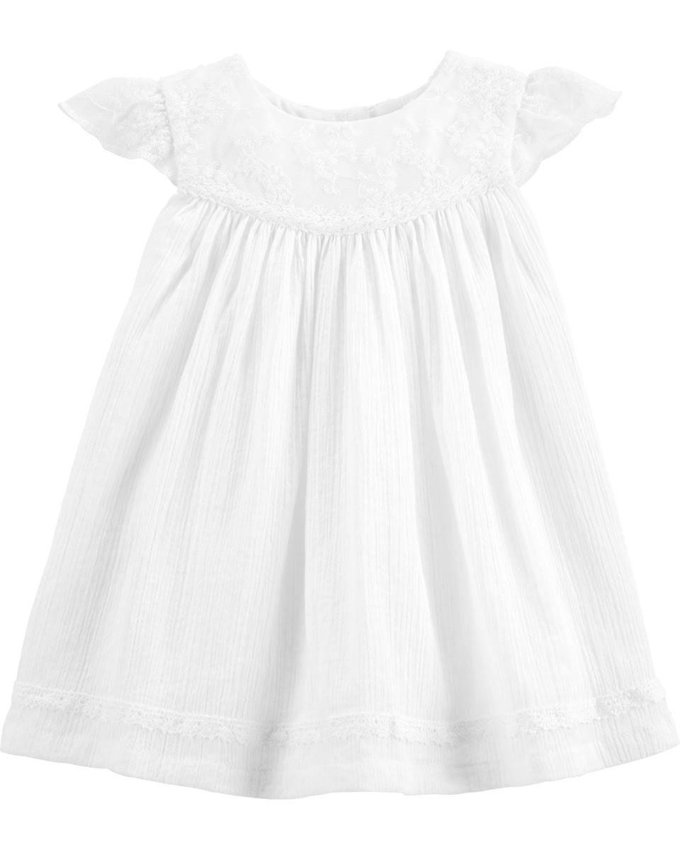 Vestido De Renda Com Calcinha Branco Baby B'gosh
