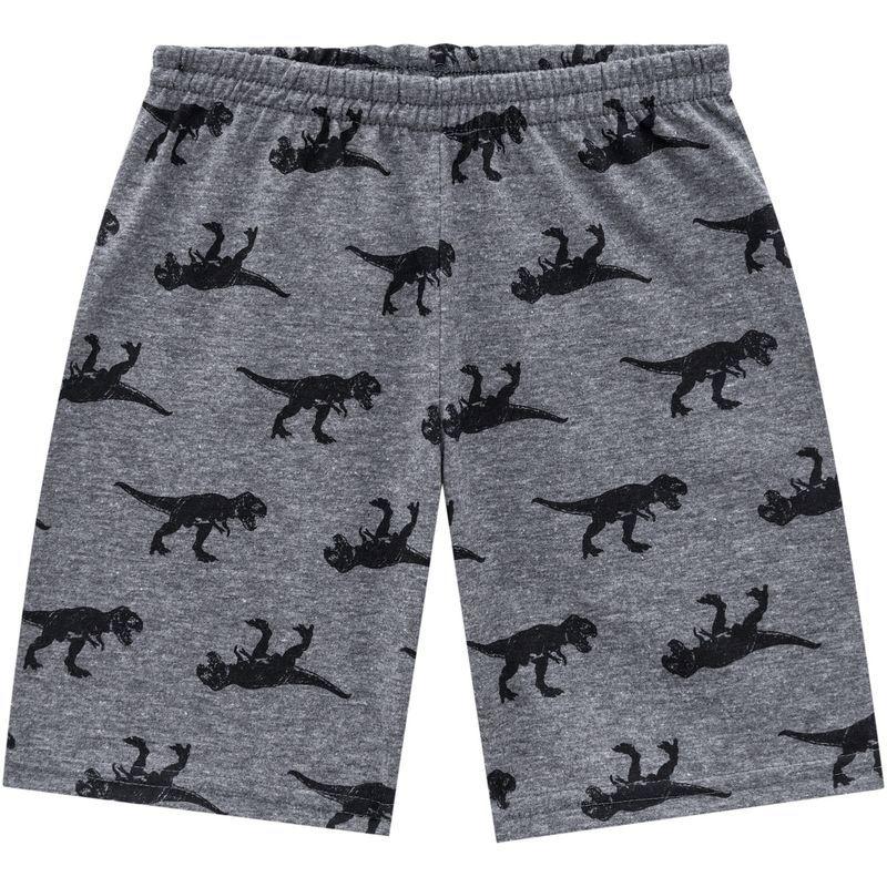 Pijama De Algodão Dinossauro Proteção Contra Insetos Manga Curta E Bermuda Cinza Kyly