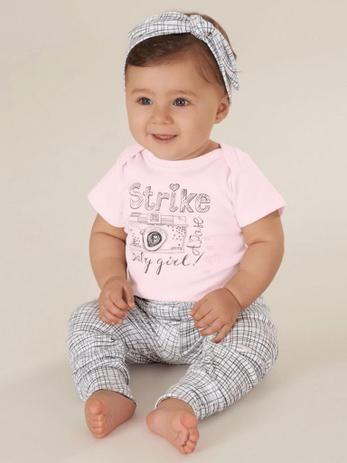 Conjunto 3 Peças De Algodão Com Faixa Strike Baby Girl A Pose Rosa Bebê Up Baby