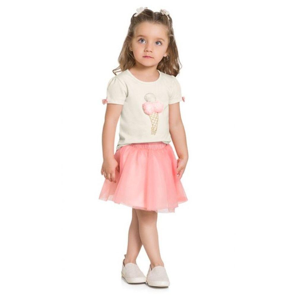 Conjunto 2 Peças De Algodão Sorvete Peluciado Blusa Branca E Saia Tule Com Forro E Short Rosa Milon