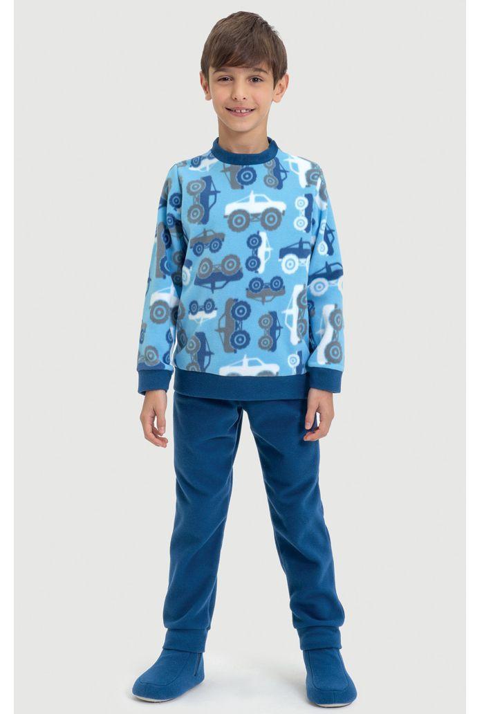 Pijama Infantil De Microsoft Carros de Neve Azul Dedeka
