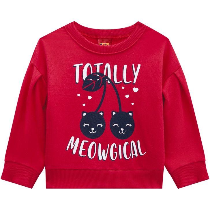 Conjunto De Moletom Casaco E Calça Totally Meowgical Vermelho Kyly