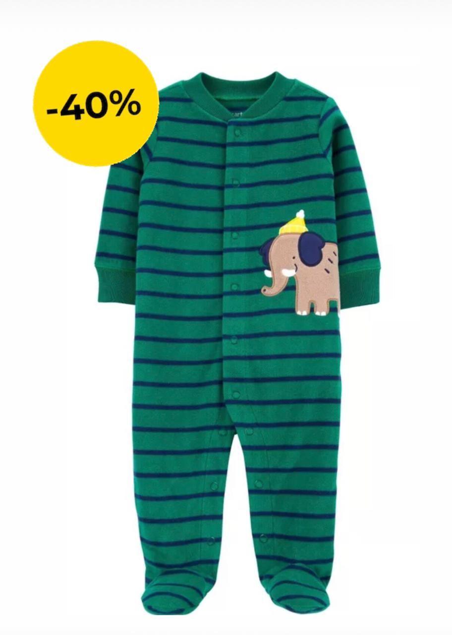 Macacão Fleece Com Pé Elefante Listrado Verde Carter's Baby