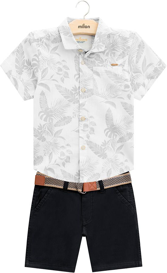 Conjunto 2 Peças De Algodão Camisa Social Floral Bermuda Preta E Cinto Milon