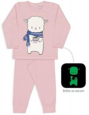 Pijama De Algodão E Modal Ovelha Rosa Suave Dedeka