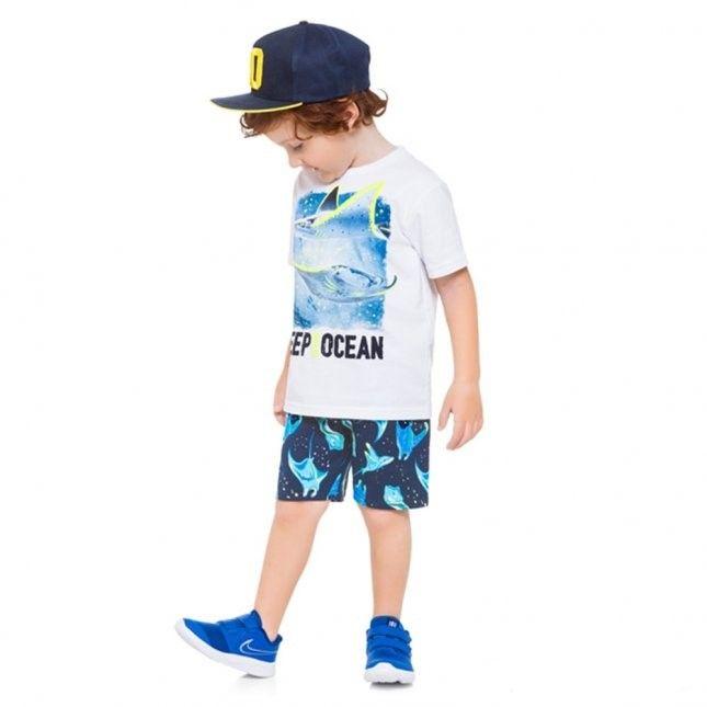 Conjunto 2 Peças De Algodão Tubarão Deep In The Ocean Branco E Azul Marinho Kyly