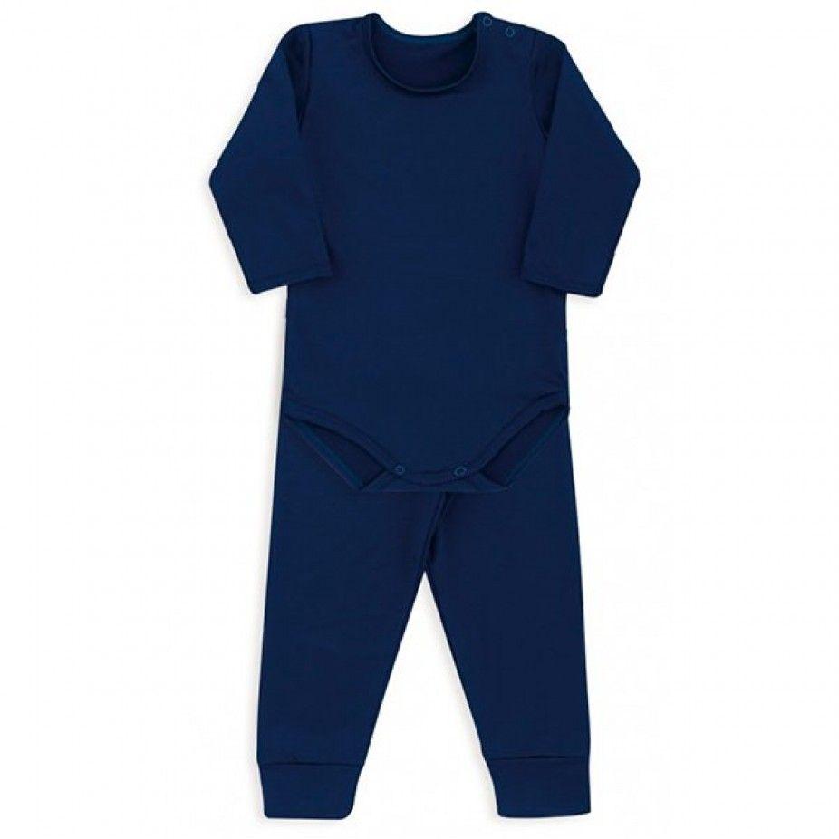 Conjunto De Body Canelado Azul Marinho Dedeka