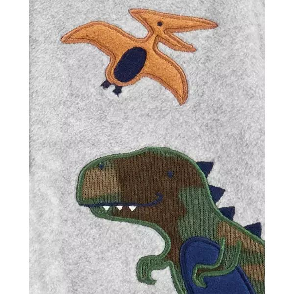 Macacão Fleece Com Pé E Zíper Dinossauros Cinza Carter's