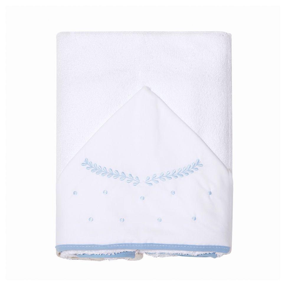 Toalha De Banho Felpuda Forrada C/Capuz Bordado 90cm X 80cm Clássico Azul Mami