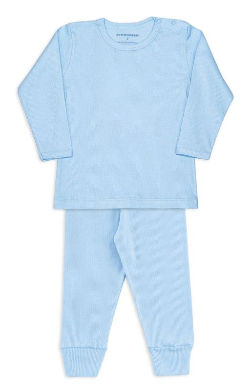 Conjunto De Algodão Canelado Azul Bebê Dedeka