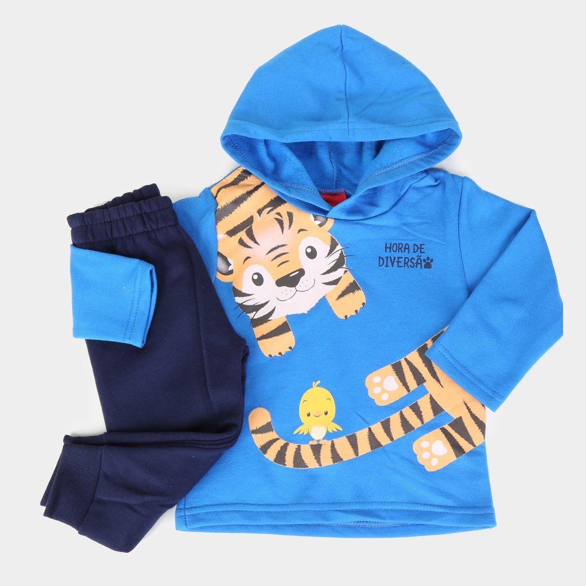 Conjunto De Moletom Casaco E Calça Tigre Hora De Diversão Azul Kyly