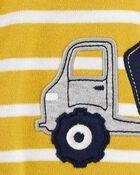 Macacão De Algodão Com Pé Caminhão De Construção Amarelo Carter's