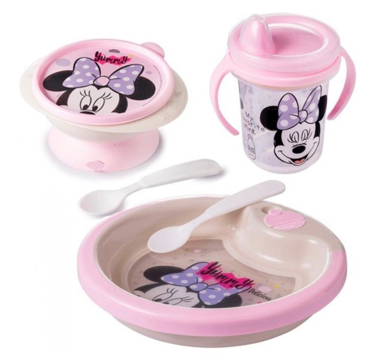 Conjunto Prato Térmico Com Colheres + Tigela Com Colher + Caneca Minnie Mouse Rosa Plasútil