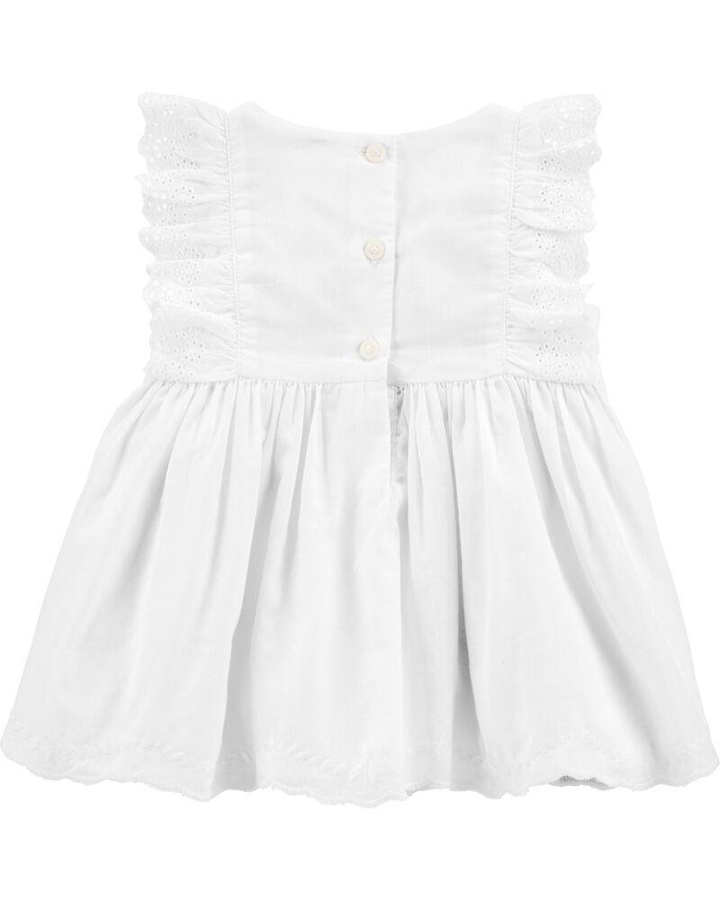 Vestido De Algodão Ilhó Com Calcinha Branco B'gosh
