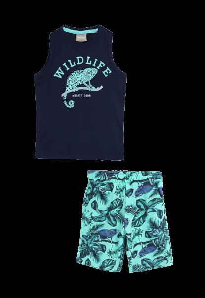 Conjunto 2 Peças De Algodão Wildlife Camaleão Azul Marinho E Verde Milon