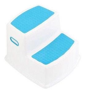 Banquinho De Banheiro 2 Degraus Azul KaBaby