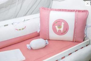 Kit De Berço 9pçs Lhama Lover Rose Encanto Brubreleu Baby