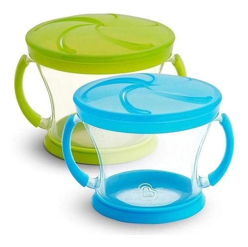 Kit 2 Potes Porta Biscoitinhos De Fácil Acesso Verde E Azul Munchkin