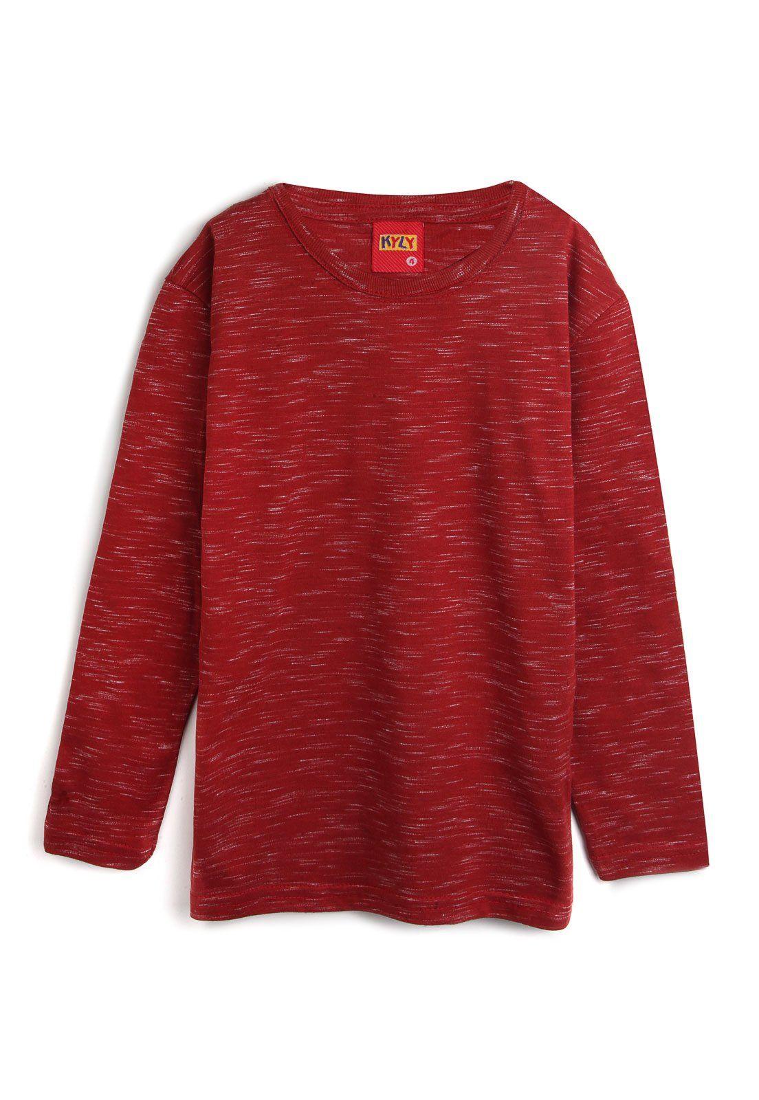 Camiseta Meia Malha Manga Longa Vermelho Kyly