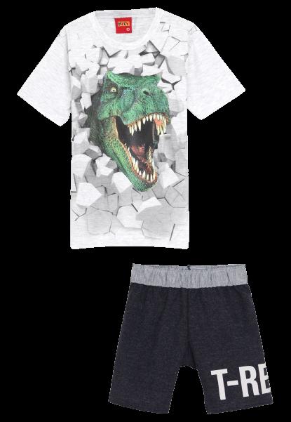 Conjunto 2 Peças De Algodão Dinossauro T-Rex Camiseta Cinza E Bermuda Azul Escuro Kyly