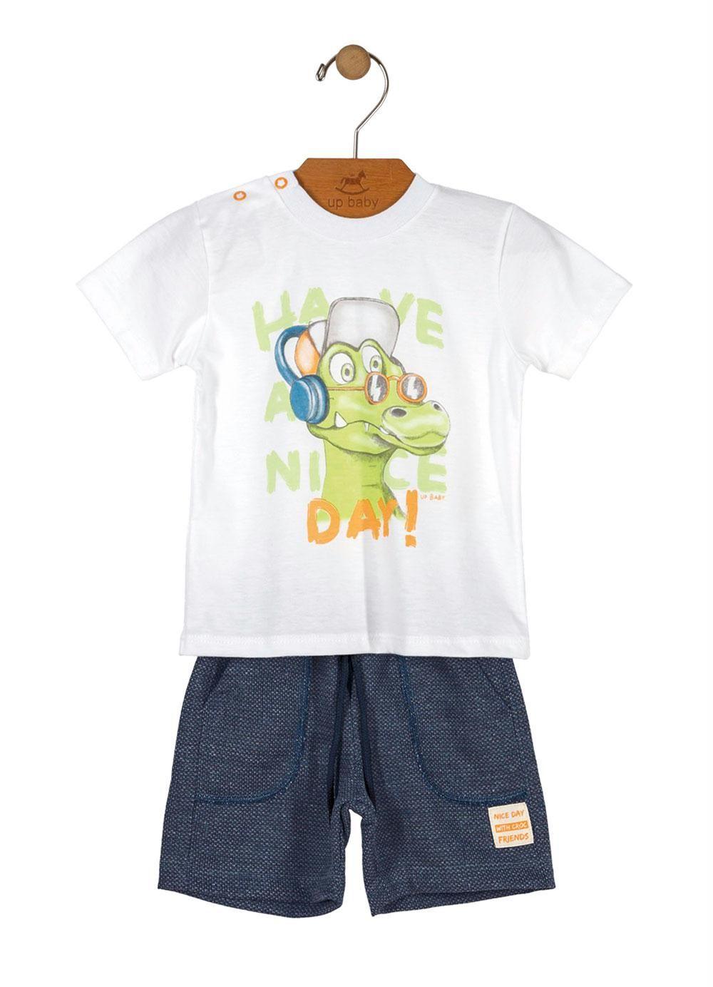 Conjunto 2 Peças De Algodão Dinossauro De Fone Have A Nice Day Camiseta E Bermuda Up Baby