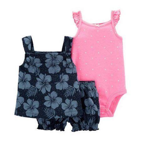 Conjunto 3 Peças De Algodão Floral Azul Escuro Com Corpo Regata Rosa Poá Carter's