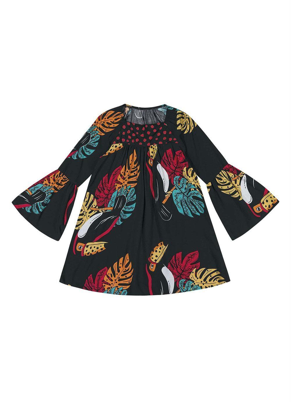Vestido De Tricoline Viscose Manga Longa Florido Preto Nanai