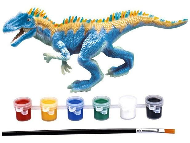 Dinossauro Para Pintar Dino Colorir 6 Tintas Lavável Xplast
