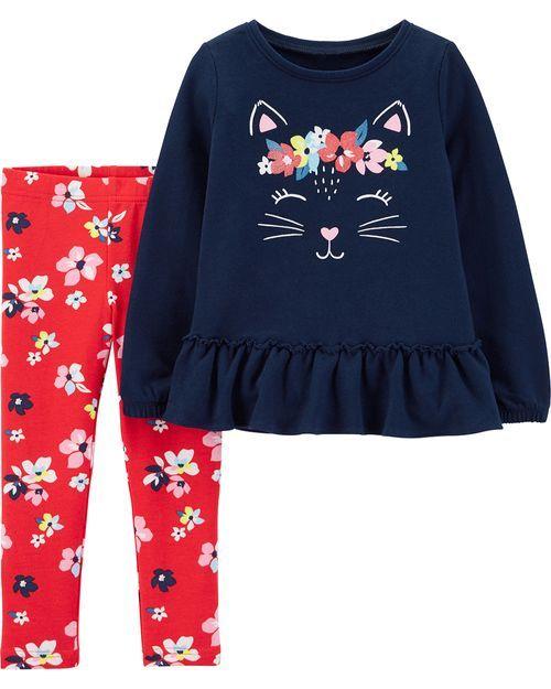 Conjunto 2 Peças De Algodão Bata Manga Longa E Calça Gatinha Floral Azul Marinho E Vermelho Carter's