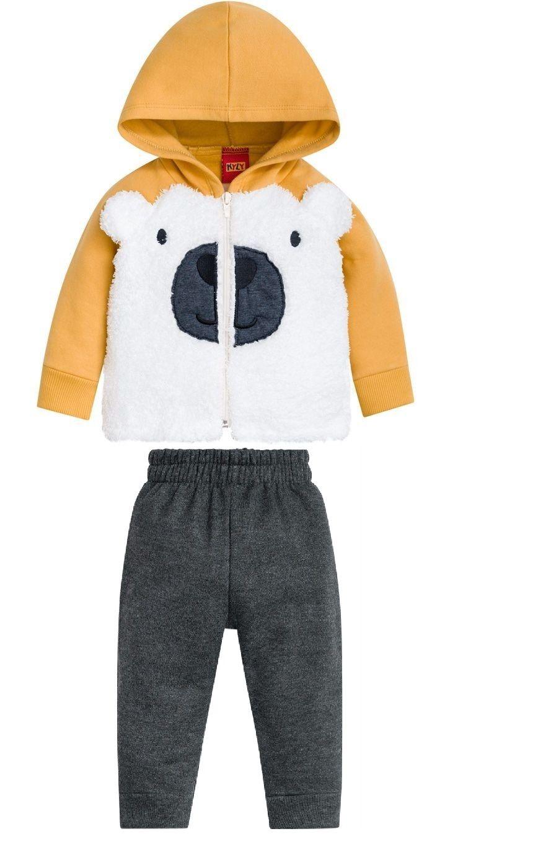Conjunto De Moletom Peluciado Casaco E Calça Urso Amarelo Kyly