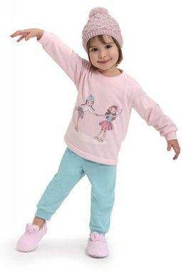 Pijama De Moletinho Patinação Rosa Bebê Dedeka
