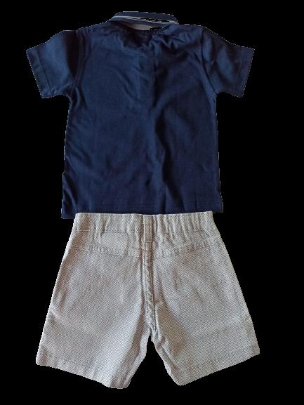 Conjunto 2 Peças Algodão Ocean Spirit Become A Sailor Blusa Polo E Bermuda Milon