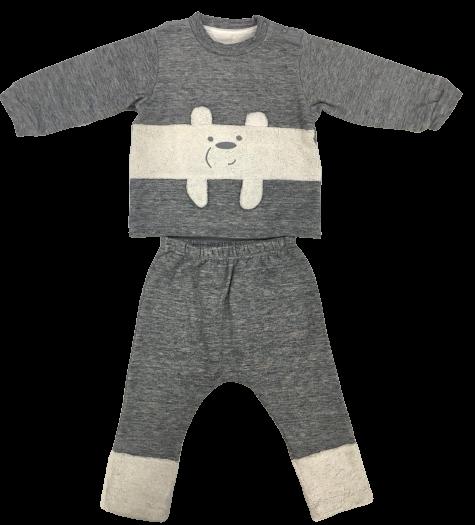 Pijama De Fleece Double Face Urso Polar Peluciado Cinza Dedeka